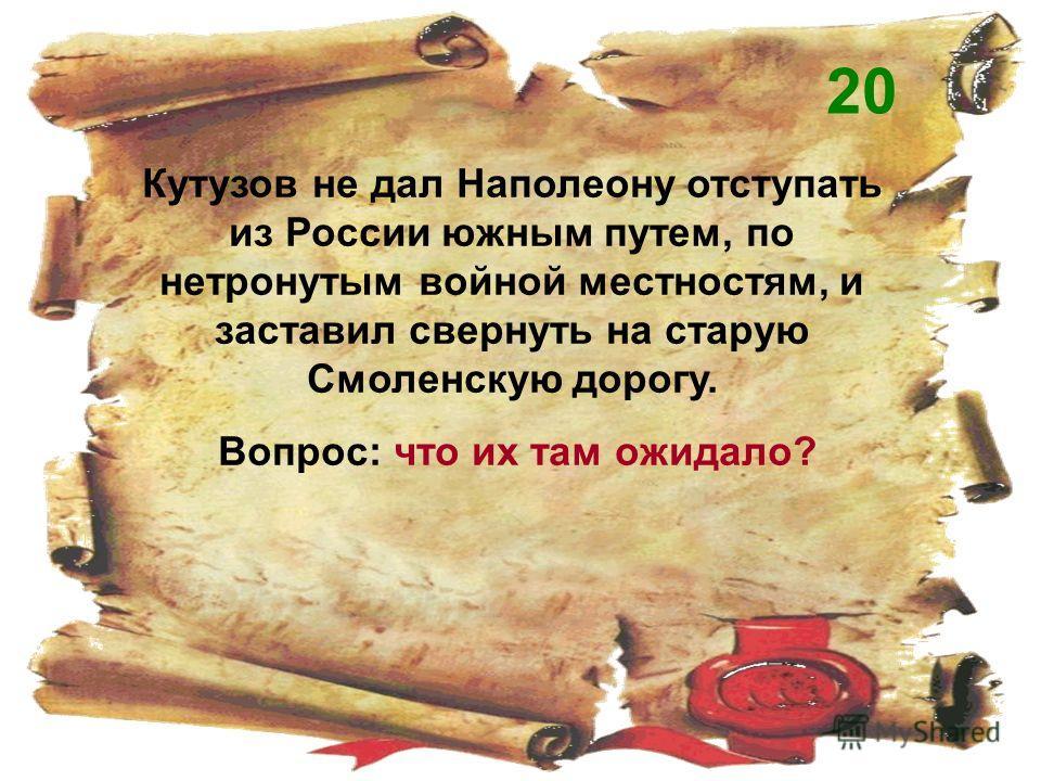 Кутузов не дал Наполеону отступать из России южным путем, по нетронутым войной местностям, и заставил свернуть на старую Смоленскую дорогу. Вопрос: что их там ожидало? 20