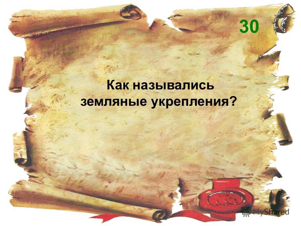 Как назывались земляные укрепления? 30