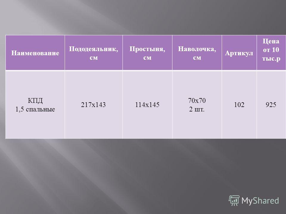 Наименование Пододеяльник, см Простыня, см Наволочка, см Артикул Цена от 10 тыс. р КПД 1,5 спальные 217 х 143114 х 145 70 х 70 2 шт. 102925