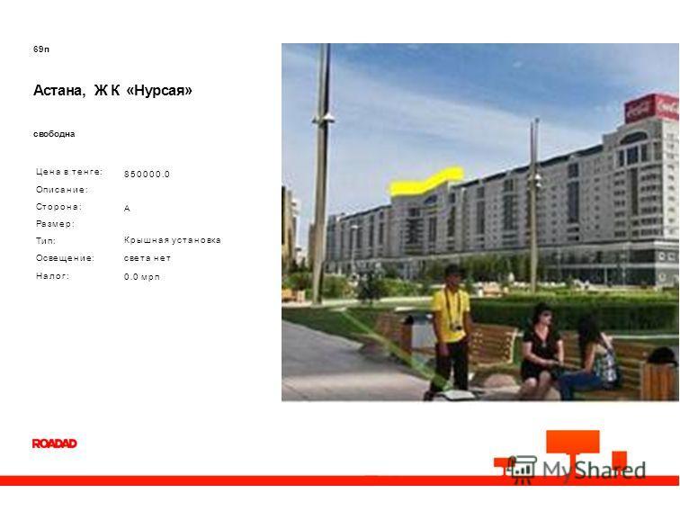 69п Астана, ЖК «Нурсая» свободна Цена в тенге: Описание: Сторона: Размер: Тип: Освещение: Налог: 850000.0 A Крышная установка света нет 0.0 мрп