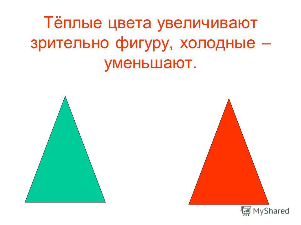 Тёплые цвета увеличивают зрительно фигуру, холодные – уменьшают.