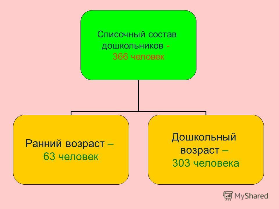 Списочный состав дошкольников - 366 человек Ранний возраст – 63 человек Дошкольный возраст – 303 человека