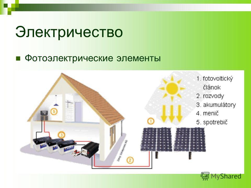 Электричество Фотоэлектрические элементы