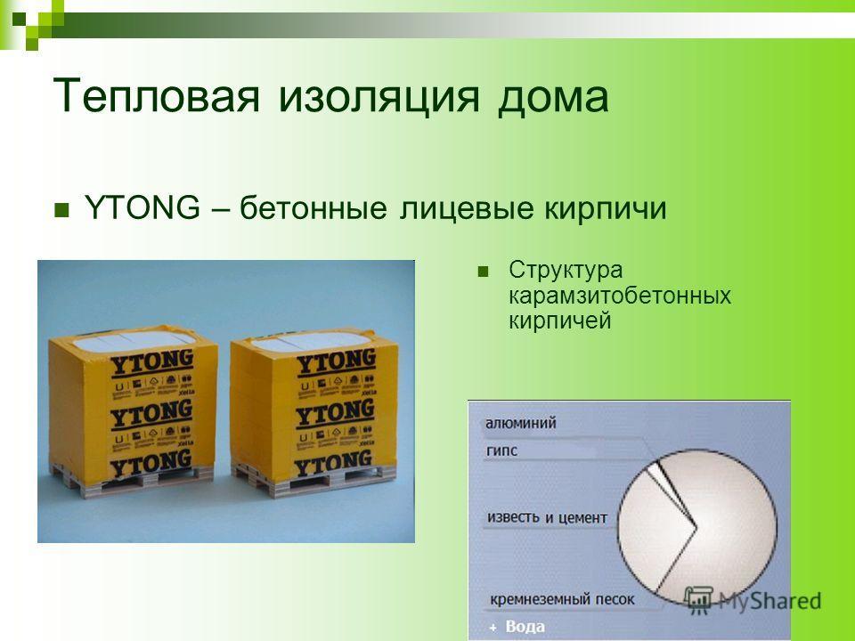Тепловая изоляция дома YTONG – бетонные лицевые кирпичи Структура карамзитобетонных кирпичей