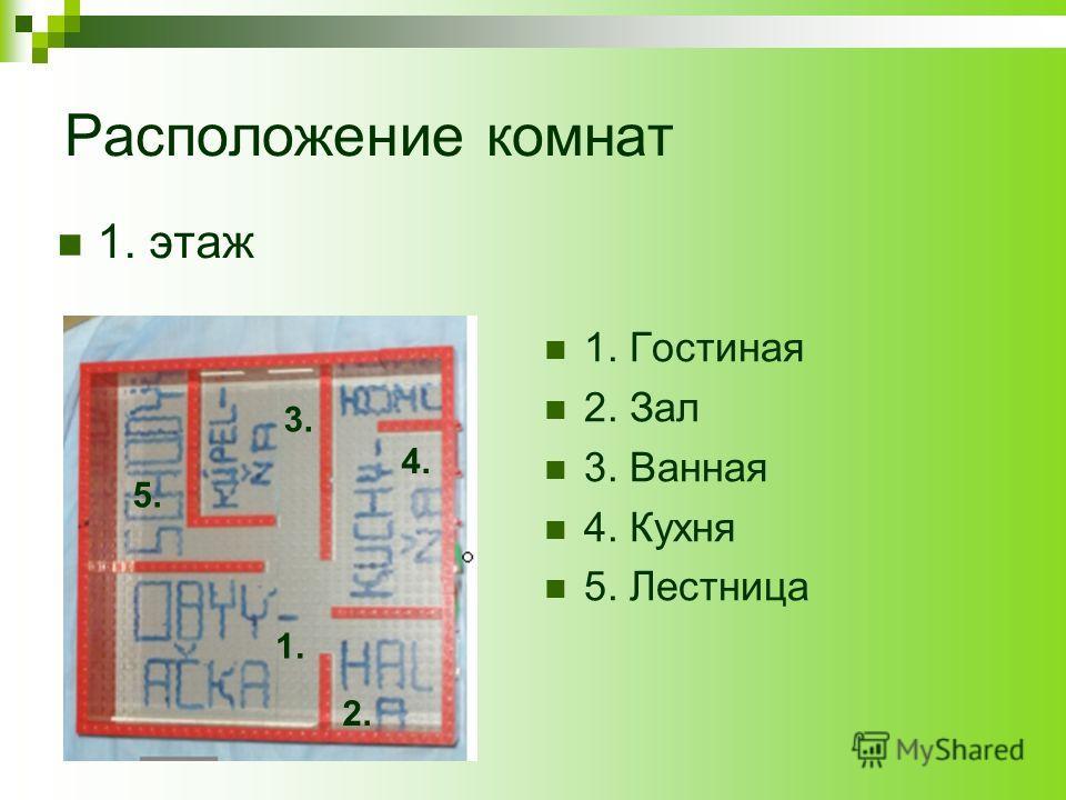 Расположение комнат 1. этаж 1. Гостиная 2. Зал 3. Ванная 4. Кухня 5. Лестница 1. 2. 3. 4. 5.
