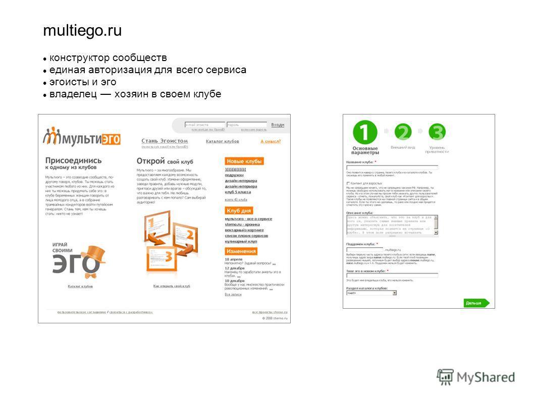 multiego.ru конструктор сообществ единая авторизация для всего сервиса эгоисты и эго владелец хозяин в своем клубе