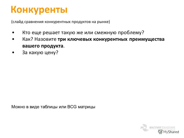 Конкуренты (слайд сравнения конкурентных продуктов на рынке) Кто еще решает такую же или смежную проблему? Как? Назовите три ключевых конкурентных преимущества вашего продукта. За какую цену? Можно в виде таблицы или BCG матрицы