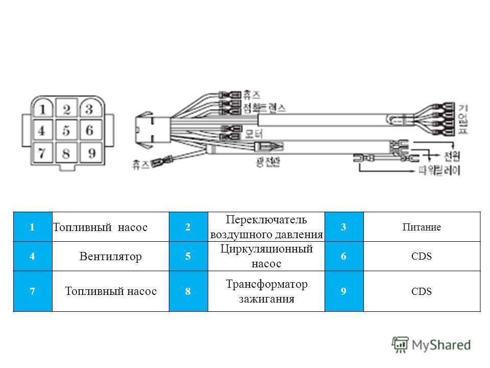 1 Топливный насос 2 Переключатель воздушного давления 3Питание 4 Вентилятор 5 Циркуляционный насос 6CDS 7 Топливный насос 8 Трансформатор зажигания 9CDS