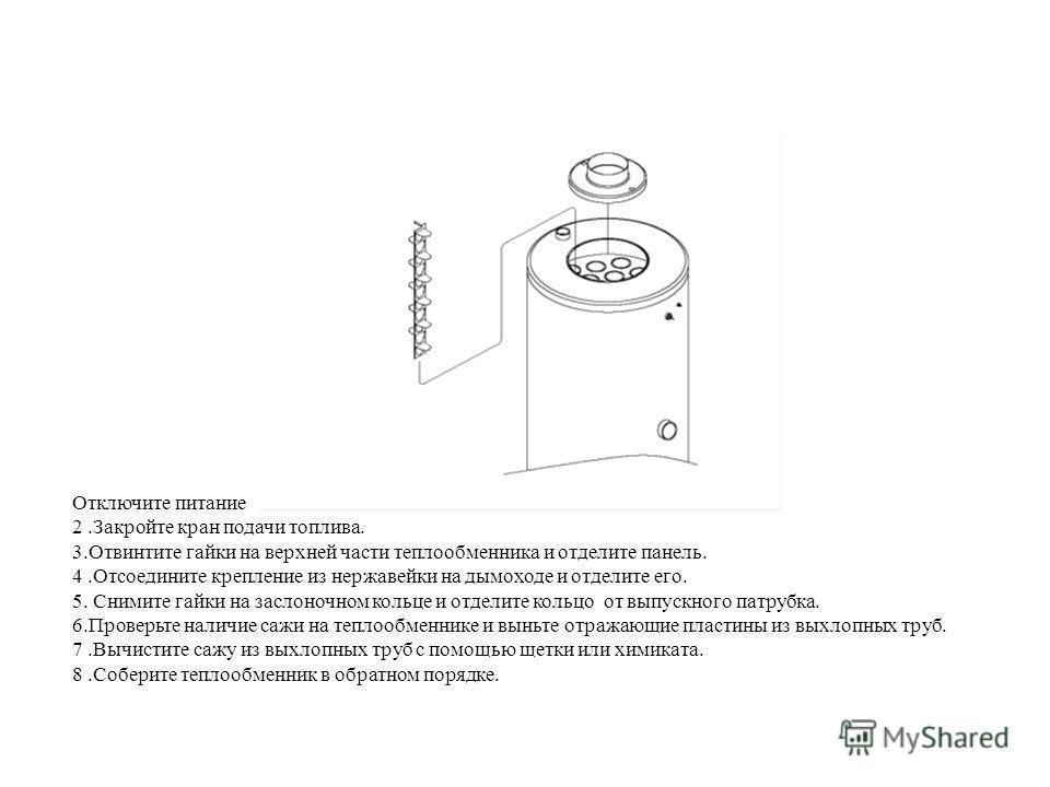 Отключите питание 2.Закройте кран подачи топлива. 3.Отвинтите гайки на верхней части теплообменника и отделите панель. 4.Отсоедините крепление из нержавейки на дымоходе и отделите его. 5. Снимите гайки на заслоночном кольце и отделите кольцо от выпус