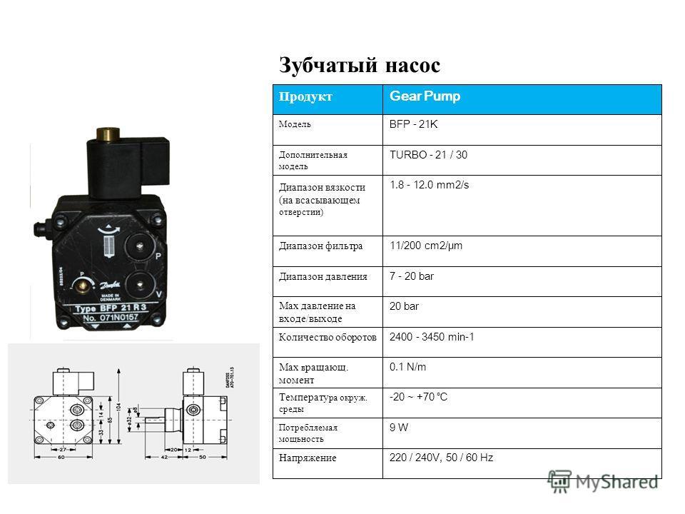220 / 240V, 50 / 60 Hz Напряжение 9 W Потребляемая мощьность -20 ~ +70 Температу ра окруж. среды 0.1 N/m Max в ращающ. момент 2400 - 3450 min-1 Количество оборотов 20 bar Мах давление на входе/выходе 7 - 20 bar Диапазон давления 11/200 cm2/μm Диапазо
