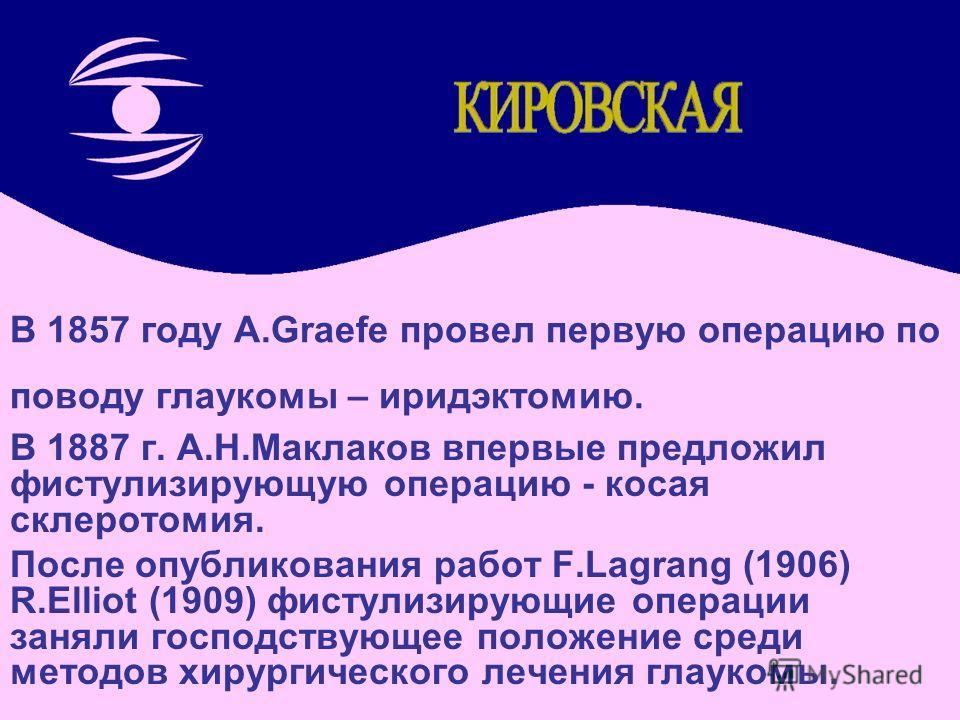 В 1857 году A.Graefe провел первую операцию по поводу глаукомы – иридэктомию. В 1887 г. А.Н.Маклаков впервые предложил фистулизирующую операцию - косая склеротомия. После опубликования работ F.Lagrang (1906) R.Elliot (1909) фистулизирующие операции з