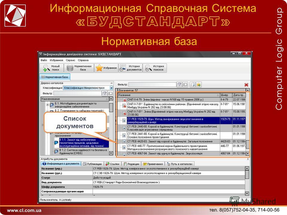 Нормативная база Список документов Информационная Справочная Система