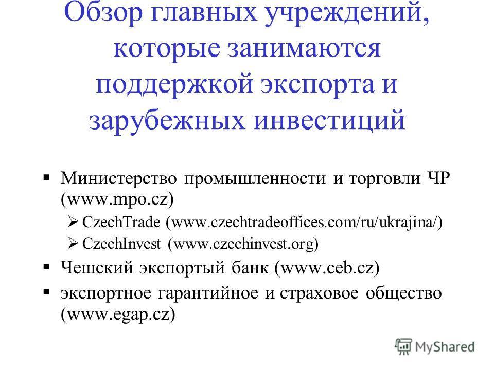 Обзор главных учреждений, которые занимаются поддержкой экспорта и зарубежных инвестиций Министерство промышленности и торговли ЧР (www.mpo.cz) CzechTrade (www.czechtradeoffices.com/ru/ukrajina/) CzechInvest (www.czechinvest.org) Чешский экспортый ба