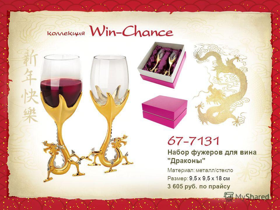 Набор фужеров для вина Драконы Материал: металл/стекло Размер: 9,5 х 9,5 х 18 см 3 605 руб. по прайсу