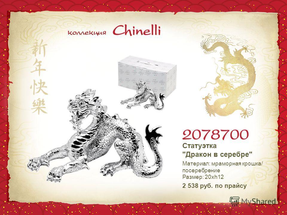 Статуэтка Дракон в серебре Материал: мраморная крошка/ посеребрение Размер: 20хh12 2 538 руб. по прайсу