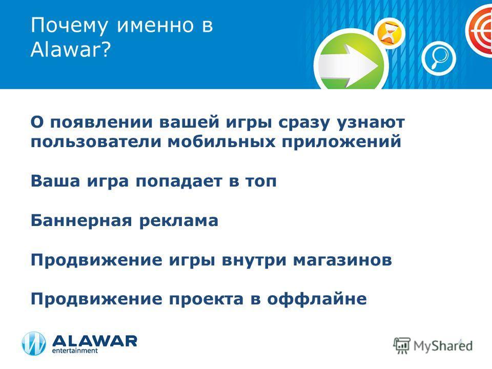 Почему именно в Alawar? О появлении вашей игры сразу узнают пользователи мобильных приложений Ваша игра попадает в топ Баннерная реклама Продвижение игры внутри магазинов Продвижение проекта в оффлайне 4