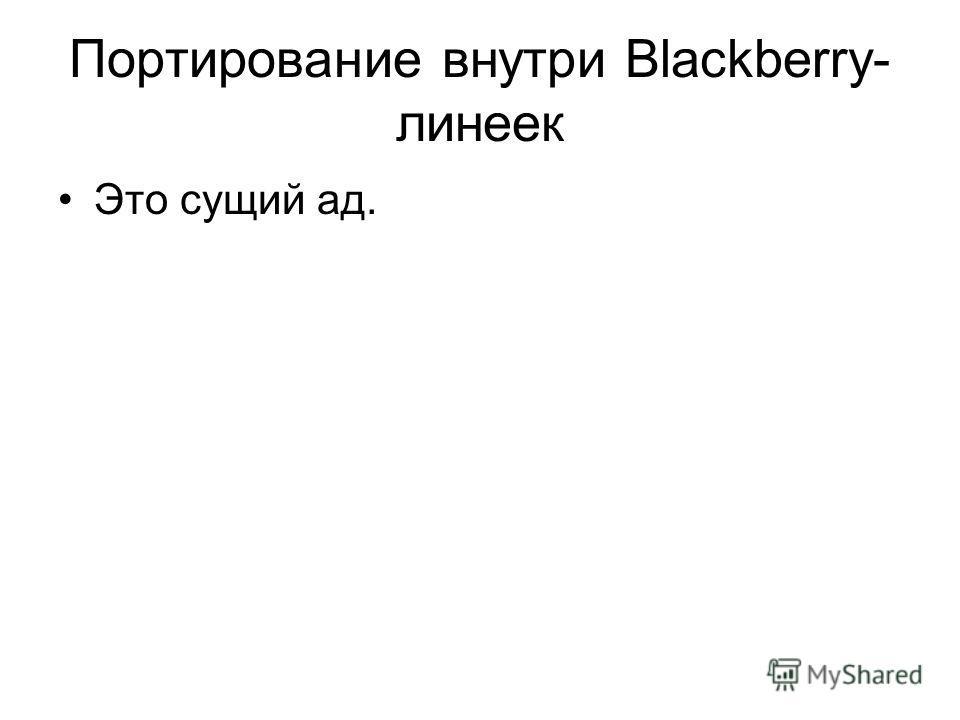 Портирование внутри Blackberry- линеек Это сущий ад.