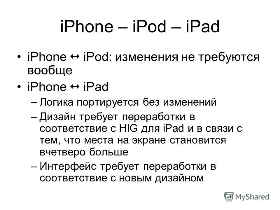 iPhone – iPod – iPad iPhone iPod: изменения не требуются вообще iPhone iPad –Логика портируется без изменений –Дизайн требует переработки в соответствие с HIG для iPad и в связи с тем, что места на экране становится вчетверо больше –Интерфейс требует