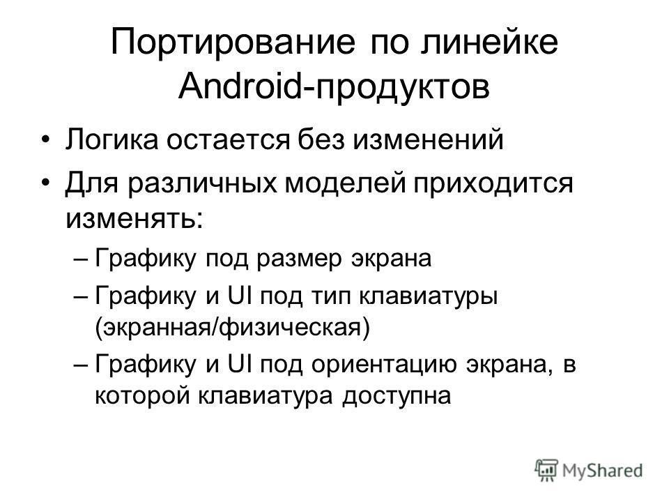 Портирование по линейке Android-продуктов Логика остается без изменений Для различных моделей приходится изменять: –Графику под размер экрана –Графику и UI под тип клавиатуры (экранная/физическая) –Графику и UI под ориентацию экрана, в которой клавиа