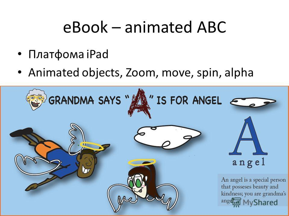 eBook – animated ABC Платфома iPad Animated objects, Zoom, move, spin, alpha