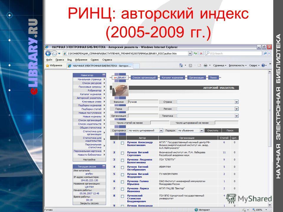 РИНЦ: авторский индекс (2005-2009 гг.)