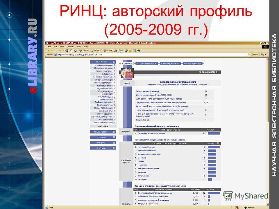 РИНЦ: авторский профиль (2005-2009 гг.)