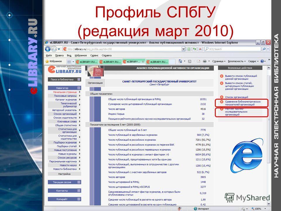 Профиль СПбГУ (редакция март 2010)
