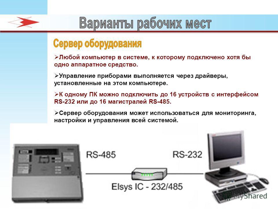 Любой компьютер в системе, к которому подключено хотя бы одно аппаратное средство. Управление приборами выполняется через драйверы, установленные на этом компьютере. К одному ПК можно подключить до 16 устройств с интерфейсом RS-232 или до 16 магистра