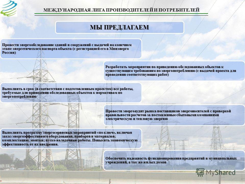 Провести энергообследование зданий и сооружений с выдачей на конечном этапе энергетического паспорта объекта (с регистрацией его в Минэнерго России) Разработать мероприятия по приведению обследованных объектов к существующим требованиям по энергопотр