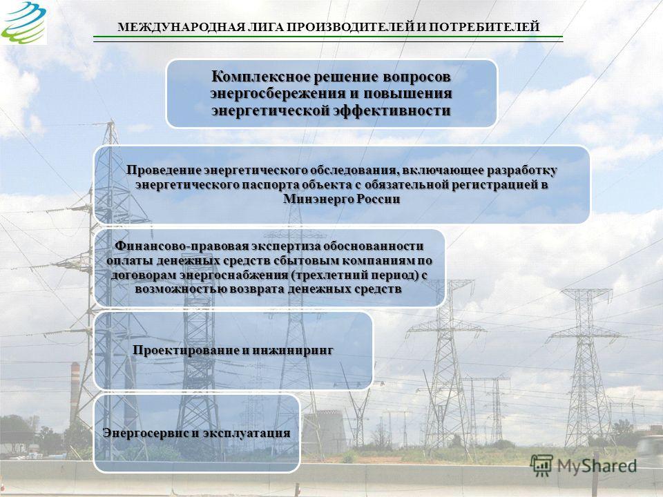 МЕЖДУНАРОДНАЯ ЛИГА ПРОИЗВОДИТЕЛЕЙ И ПОТРЕБИТЕЛЕЙ Комплексное решение вопросов энергосбережения и повышения энергетической эффективности Проведение энергетического обследования, включающее разработку энергетического паспорта объекта с обязательной рег