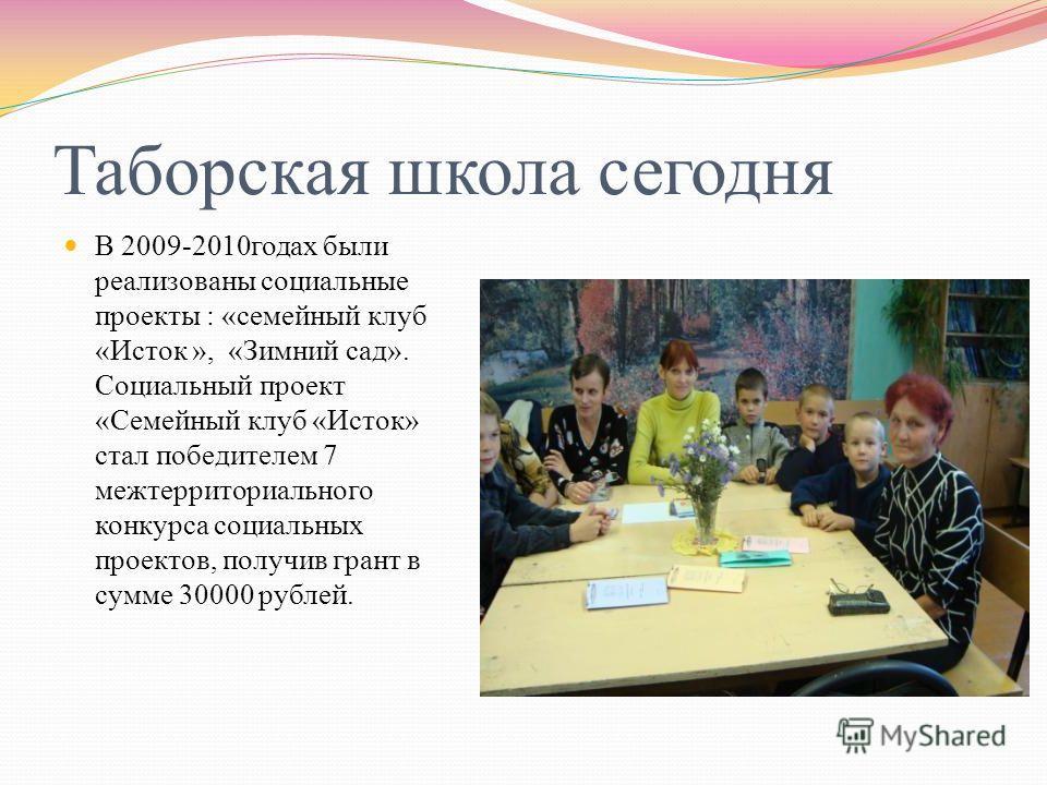 Таборская школа сегодня В 2009-2010 годах были реализованы социальные проекты : « семейный клуб « Исток », « Зимний сад ». Социальный проект « Семейный клуб « Исток » стал победителем 7 межтерриториального конкурса социальных проектов, получив грант