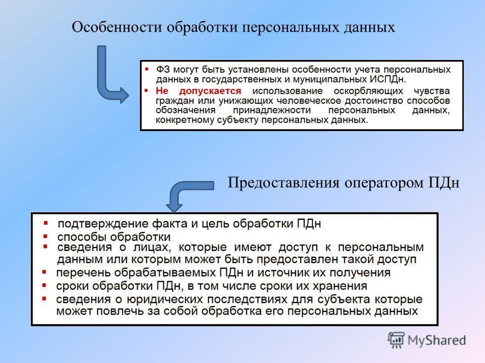 Особенности обработки персональных данных Предоставления оператором ПДн