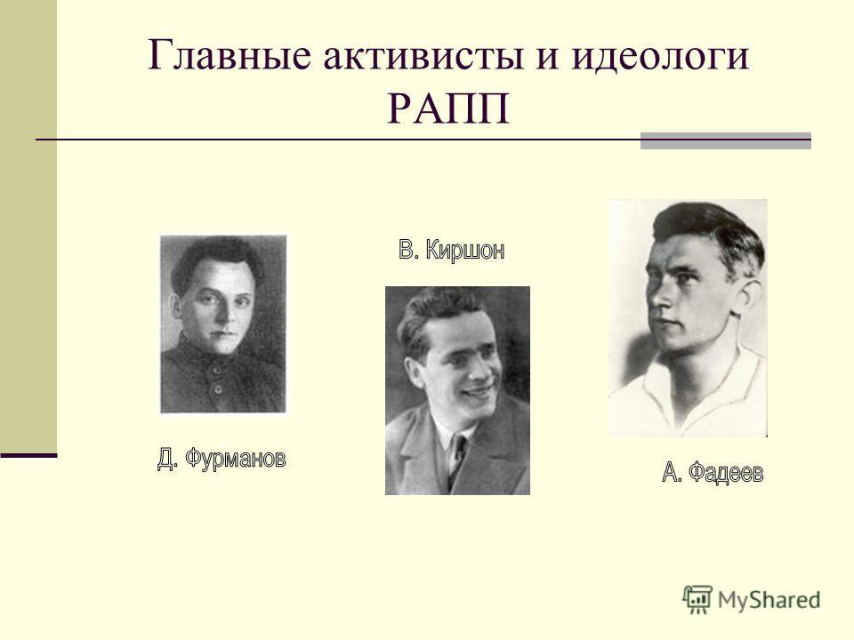 Главные активисты и идеологи РАПП