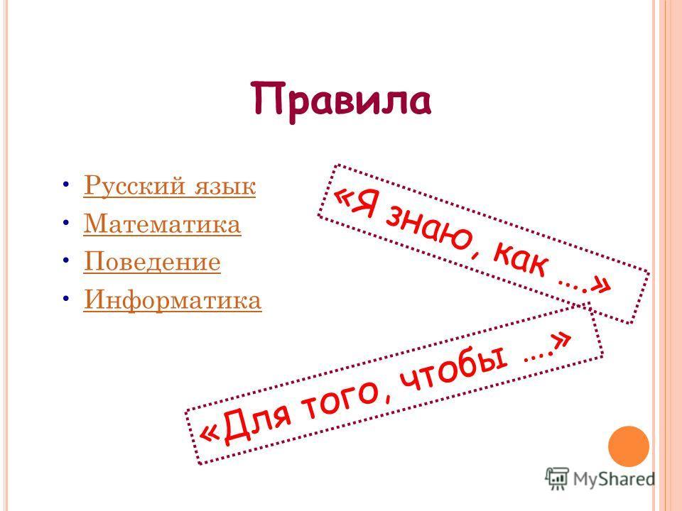 Правила Русский язык Математика Поведение Информатика «Я знаю, как ….» «Для того, чтобы ….»