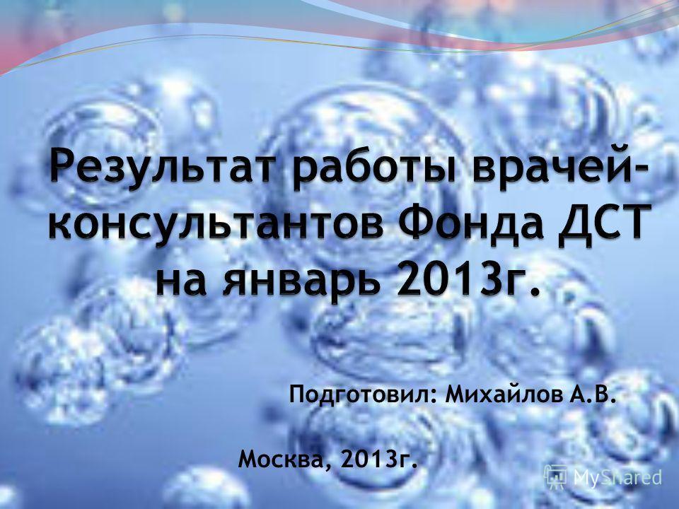 Подготовил: Михайлов А.В. Москва, 2013г.