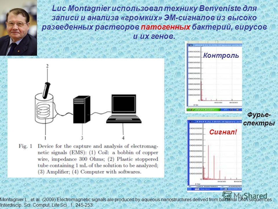 Luc Montagnier использовал технику Benveniste для записи и анализа «громких» ЭМ-сигналов из высоко разведенных растворов патогенных бактерий, вирусов и их генов. Montagnier L., et al. (2009) Electromagnetic signals are produced by aqueous nanostructu