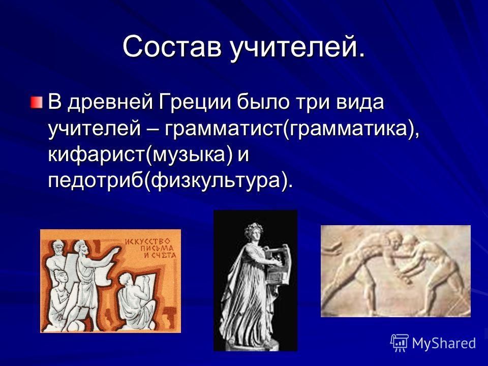 Состав учителей. В древней Греции было три вида учителей – грамматист(грамматика), кифарист(музыка) и педотриб(физкультура).