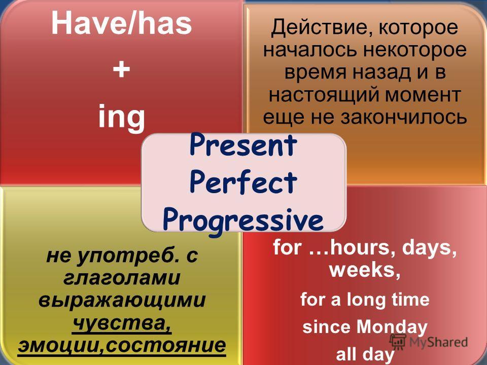 Have/has + ing Действие, которое началось некоторое время назад и в настоящий момент еще не закончилось не употреб. с глаголами выражающими чувства, эмоции,состояние for …hours, days, weeks, for a long time since Monday all day Present Perfect Progre