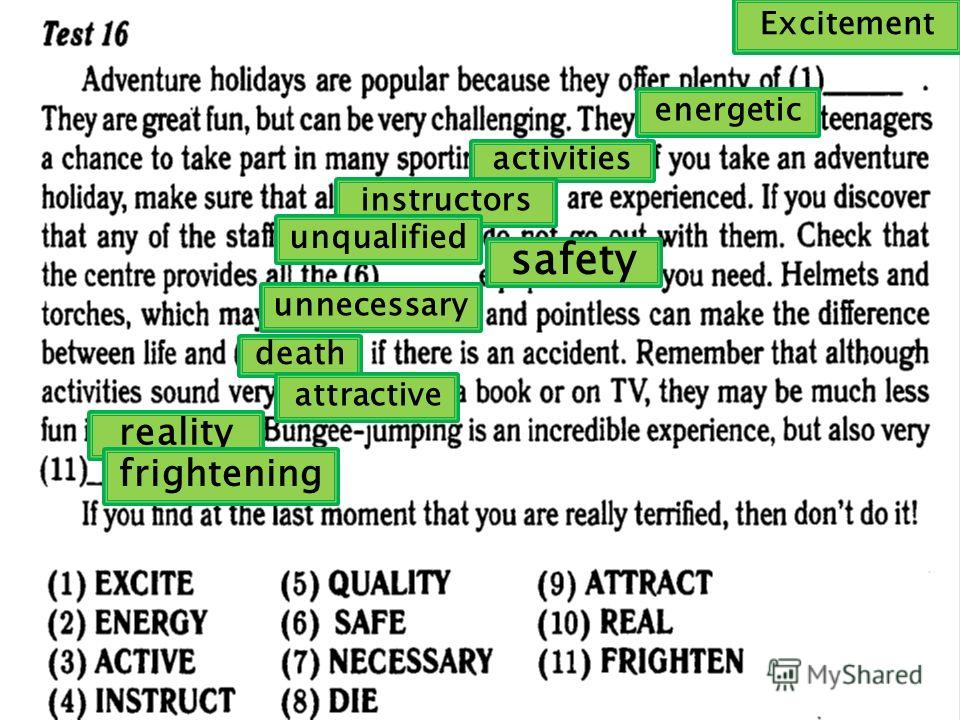 Excitement energetic activities instructors unqualified safety unnecessary death attractive reality frightening