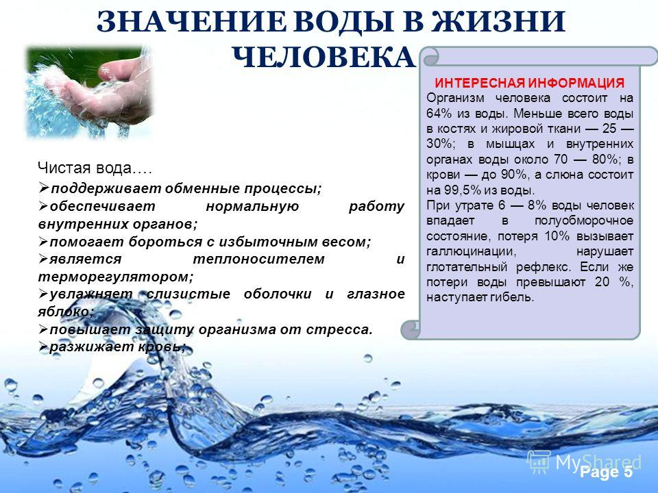 Page 5 ЗНАЧЕНИЕ ВОДЫ В ЖИЗНИ ЧЕЛОВЕКА Организм человека состоит на 64% из воды. Меньше всего воды в костях и жировой ткани 25 30%; в мышцах и внутренних органах воды около 70 80%; в крови до 90%, а слюна состоит на 99,5% из воды. При утрате 6 8% воды