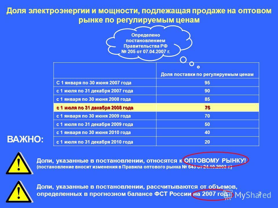7 Доля электроэнергии и мощности, подлежащая продаже на оптовом рынке по регулируемым ценам Доля поставки по регулируемым ценам C 1 января по 30 июня 2007 года95 с 1 июля по 31 декабря 2007 года90 с 1 января по 30 июня 2008 года85 с 1 июля по 31 дека