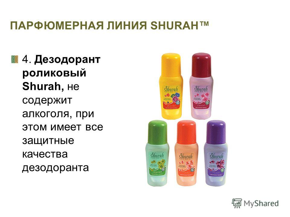 ПАРФЮМЕРНАЯ ЛИНИЯ SHURAH 4. Дезодорант роликовый Shurah, не содержит алкоголя, при этом имеет все защитные качества дезодоранта