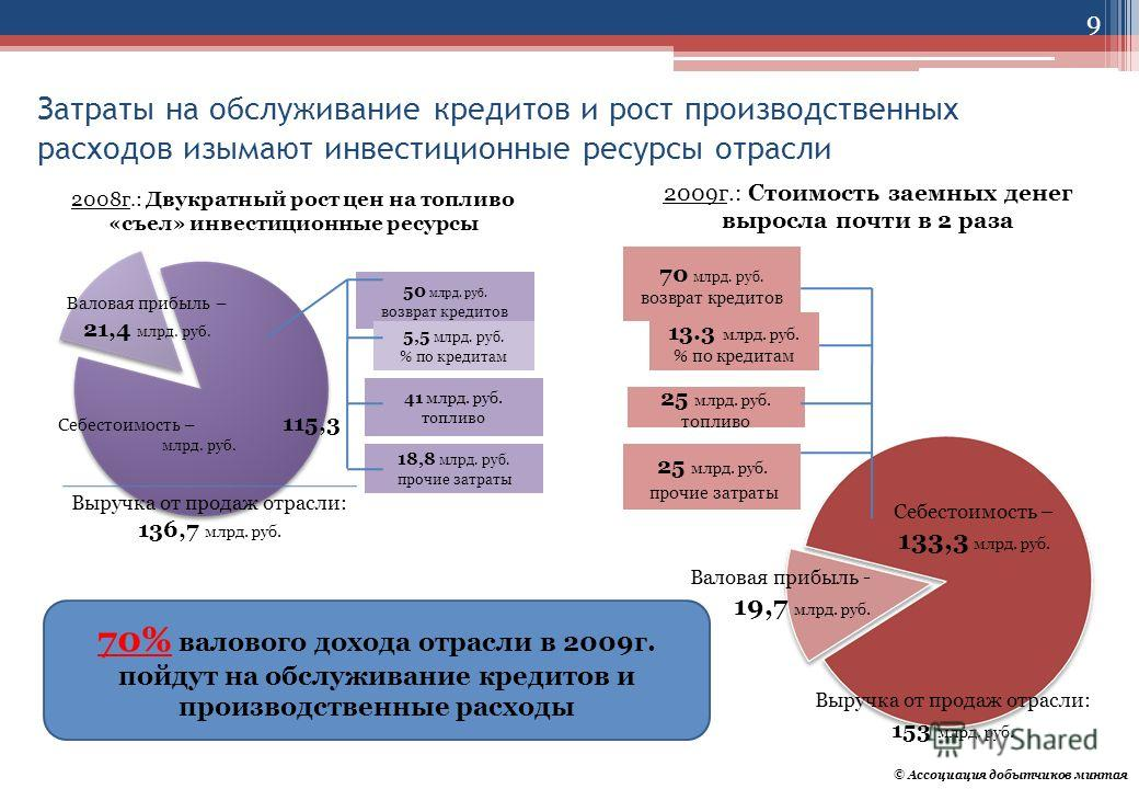 Затраты на обслуживание кредитов и рост производственных расходов изымают инвестиционные ресурсы отрасли 50 млрд. руб. возврат кредитов 41 млрд. руб. топливо 18,8 млрд. руб. прочие затраты 5,5 млрд. руб. % по кредитам 2008г.: Двукратный рост цен на т