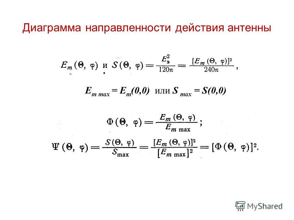 Диаграмма направленности действия антенны E m max = E m (0,0) или S max = S(0,0)