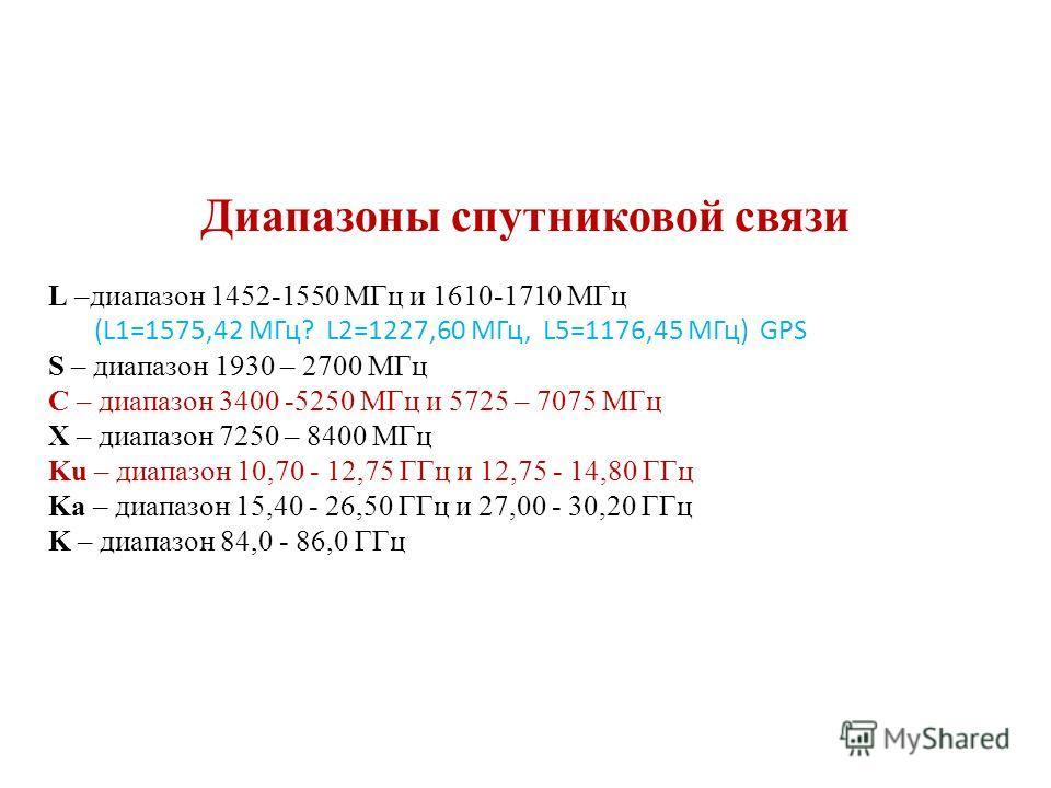 Диапазоны спутниковой связи L –диапазон 1452-1550 МГц и 1610-1710 МГц (L1=1575,42 МГц? L2=1227,60 МГц, L5=1176,45 МГц) GPS S – диапазон 1930 – 2700 МГц C – диапазон 3400 -5250 МГц и 5725 – 7075 МГц X – диапазон 7250 – 8400 МГц Ku – диапазон 10,70 - 1