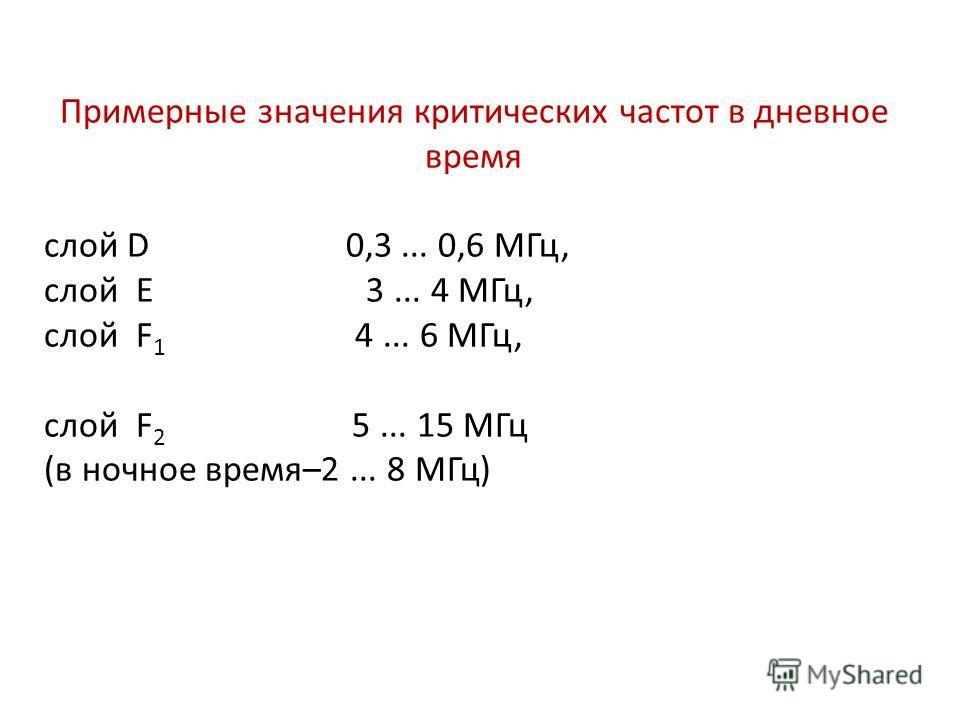 Примерные значения критических частот в дневное время слой D 0,3... 0,6 МГц, слой Е 3... 4 МГц, слой F 1 4... 6 МГц, слой F 2 5... 15 МГц (в ночное время–2... 8 МГц)