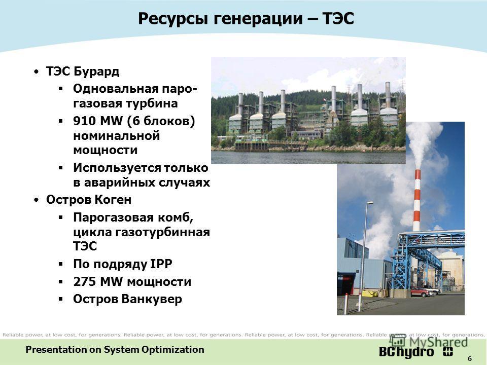 6 Presentation on System Optimization ТЭС Бурард Одновальная паро- газовая турбина 910 MW (6 блоков) номинальной мощности Используется только в аварийных случаях Остров Коген Парогазовая комб, цикла газотурбинная ТЭС По подряду IPP 275 MW мощности Ос