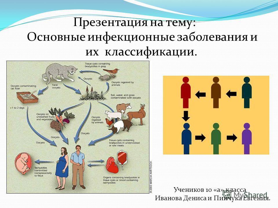 Презентация на тему: Основные инфекционные заболевания и их классификации. Учеников 10 «а» класса Иванова Дениса и Пинчука Евгения.