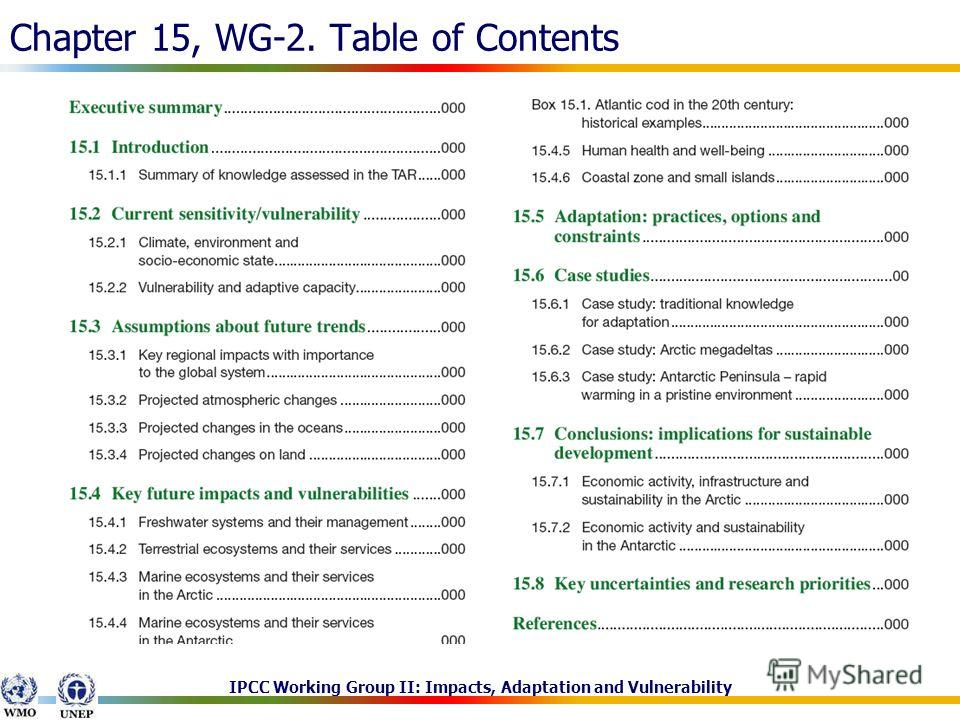 IPCC Working Group II: Impacts, Adaptation and Vulnerability Chapter 15, WG-2. Table of Contents