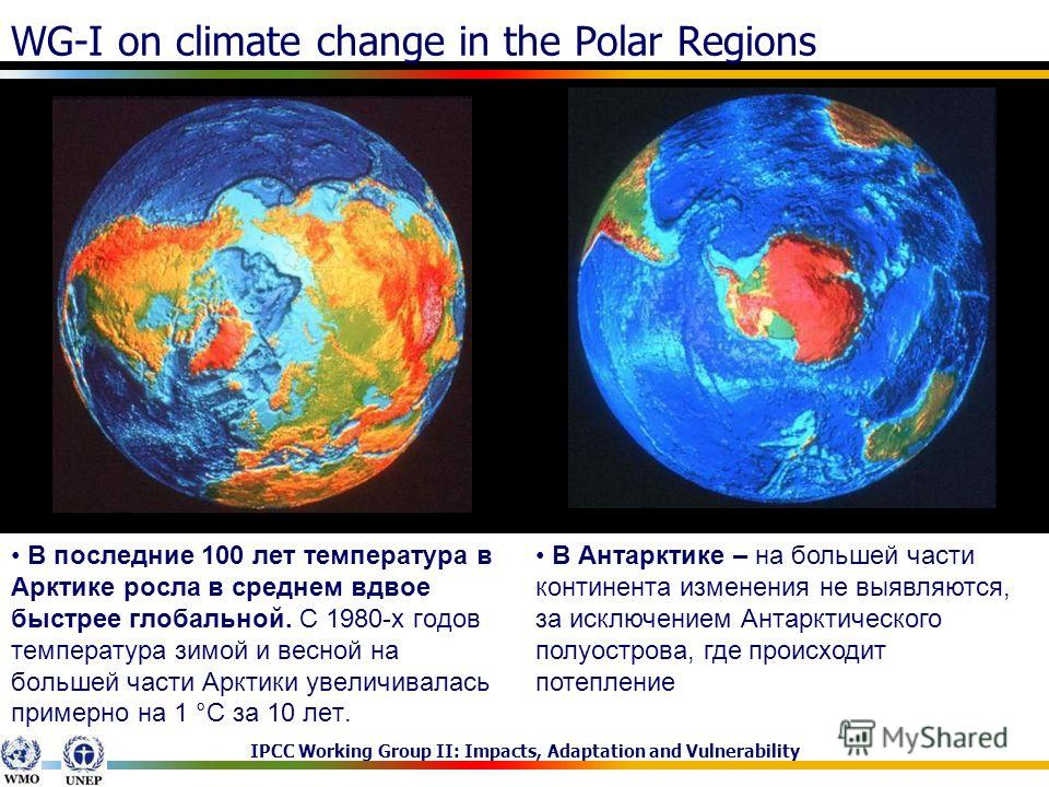 IPCC Working Group II: Impacts, Adaptation and Vulnerability WG-I on climate change in the Polar Regions В последние 100 лет температура в Арктике росла в среднем вдвое быстрее глобальной. С 1980-х годов температура зимой и весной на большей части Ар